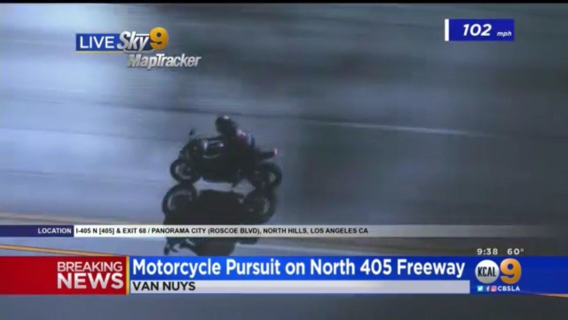102 mph motorcycle chase