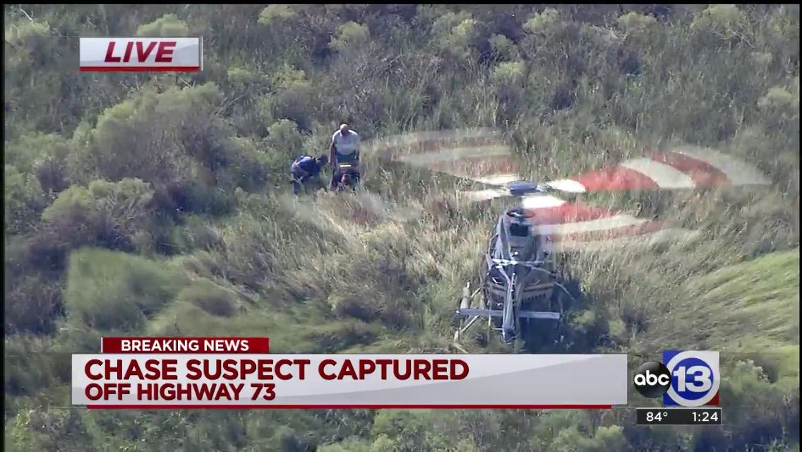 helicopter landing to capture chase suspect